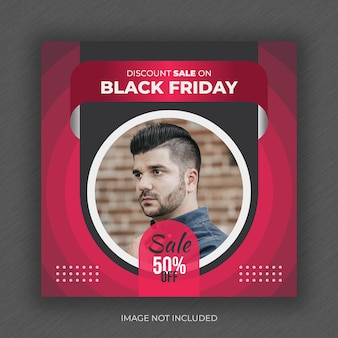 Black friday fashion sale social media post banner und square flyer design vorlage