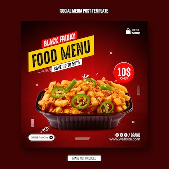 Black friday food social media post und instagram banner design vorlage Premium PSD