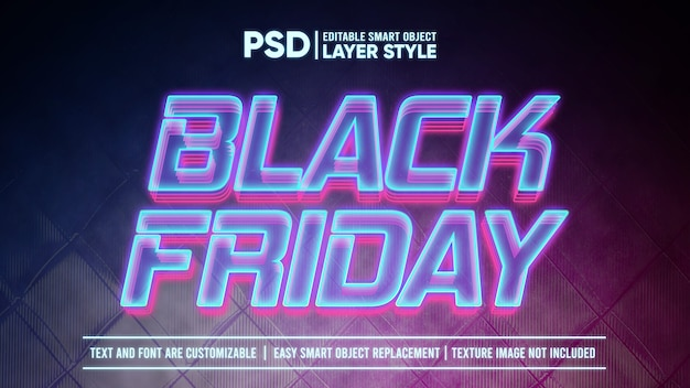 Black friday futuristischer holographischer licht-smart-object-layer-effekt