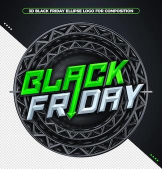 Black friday grünes 3d-rendering-konzept