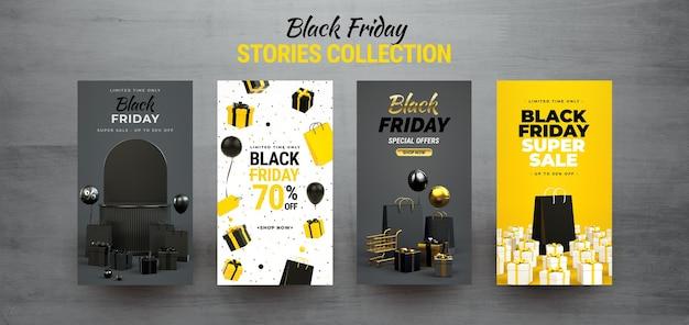 Black friday instagram-geschichtensammlung. bearbeitbare texte mit einkaufssachen in 3d-rendering