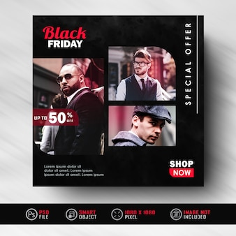Black friday instagram-social-media-feed-post-banner-vorlage