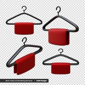 Black friday kleiderbügel 3d-rendering-elemente