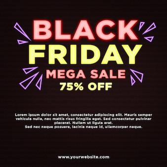 Black friday mega sale 75% rabatt auf banner in neon-effekten
