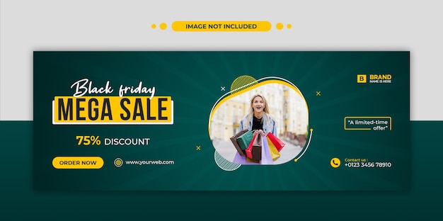 Black friday mega sale facebook timeline cover und web-banner-vorlage