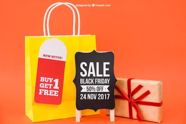 Black friday mockup mit tasche und board Kostenlosen PSD
