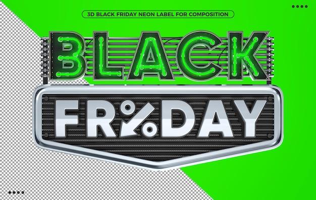 Black friday neongrün 3d-render-label für make-up
