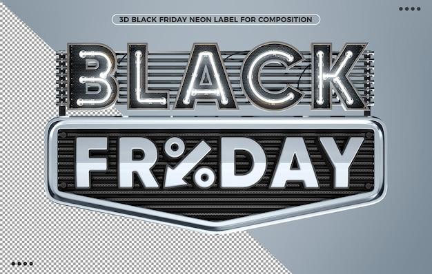 Black friday neonweißes 3d-render-label für make-up