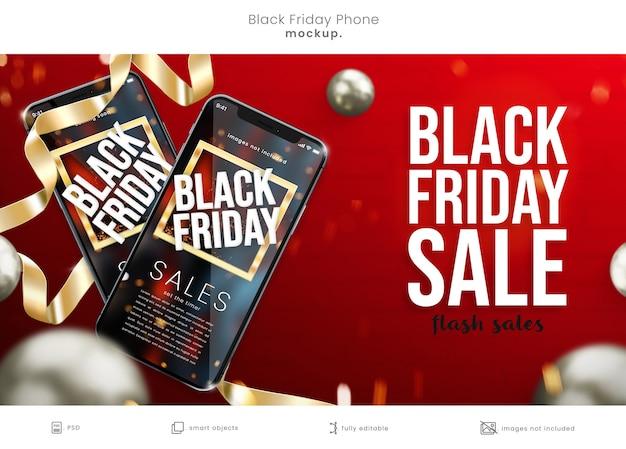 Black friday phone screen mockup auf rotem hintergrund mit bändern