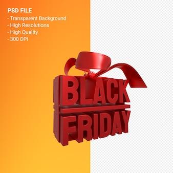Black friday sale 3d-design-rendering für verkaufsförderung mit bogen und band isoliert