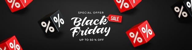 Black friday sale banner vorlage mit 3d schwarzen und roten würfeln mit prozenten