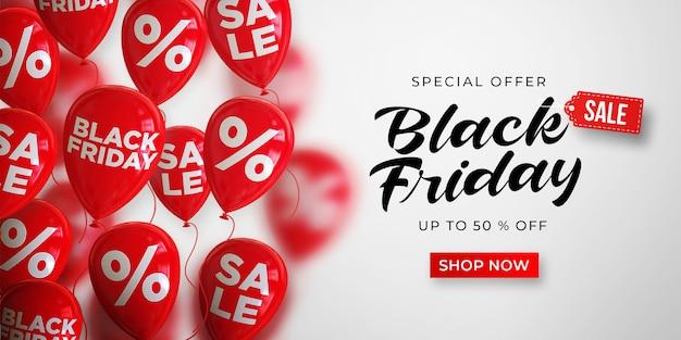 Black friday sale banner vorlage mit rot glänzenden luftballons