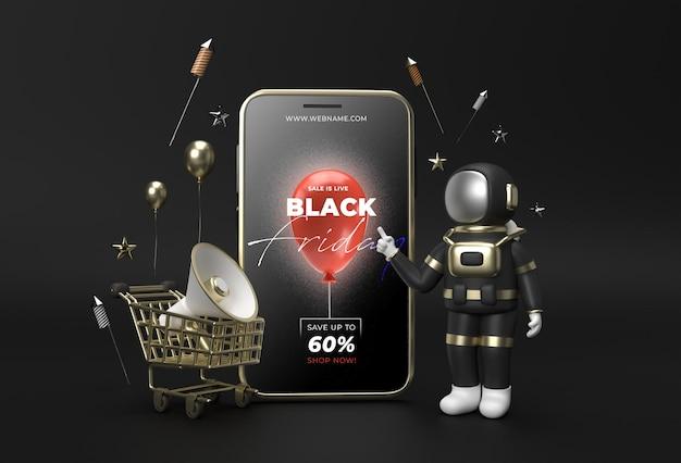 Black friday sale banner vorlage mobile mockup.