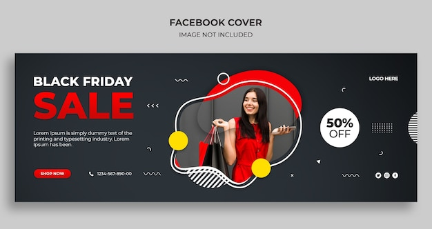 Black friday sale facebook timeline cover und web-banner-vorlage