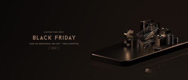 Black friday sale-modell in 3d-rendering