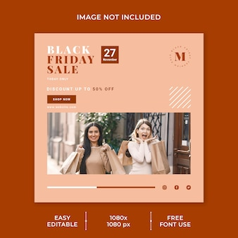 Black friday sale social media vorlage minimalistisches konzept