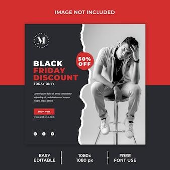 Black friday sale social media vorlage zerrissenes papierkonzept