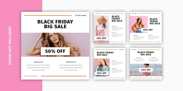 Black friday social media banner set vorlage