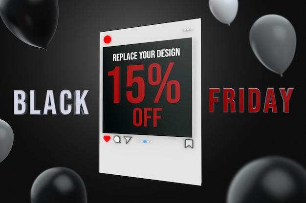 Black friday social media square mockup design