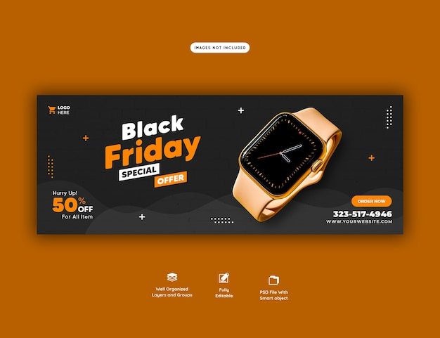 Black friday sonderangebot facebook cover banner vorlage