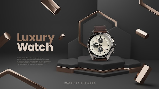 Black gold luxus 3d podium produkt display mockup