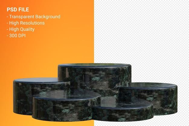 Black marble podium minimal isoliert für kosmetische produktpräsentation