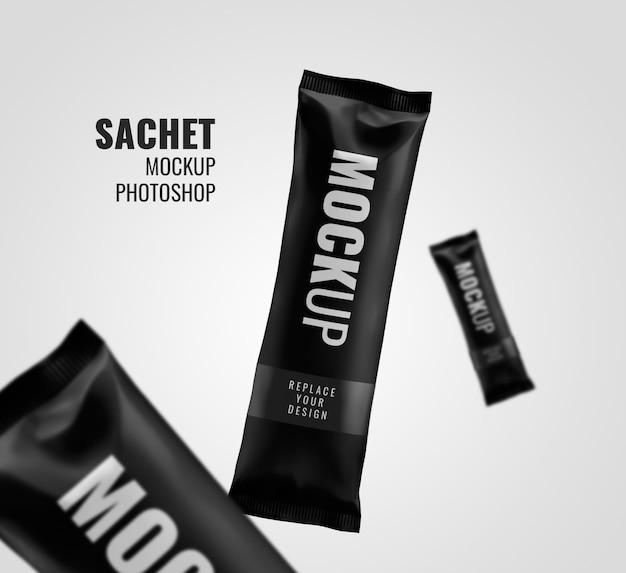 Black sachet snack bar modell rendering