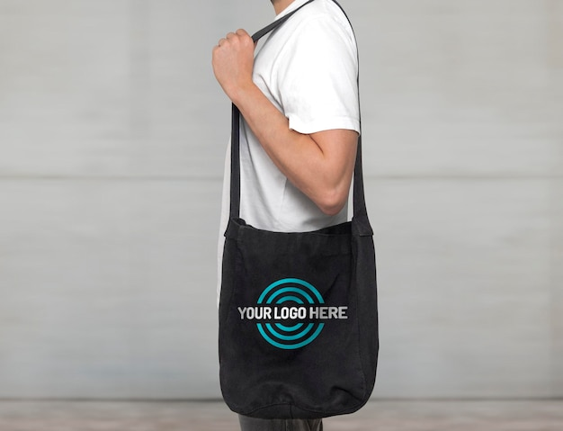 Black tote bag mockup
