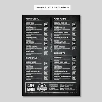 Blackboard cafe menü flyer