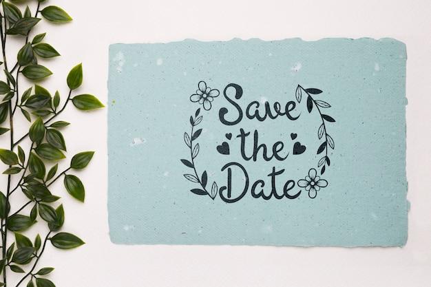 Blätter mit save the date-mock-up