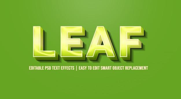 Blatt in den grünen effekten des textes 3d