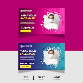 Blau pink tragen sie ihre maske web banner design