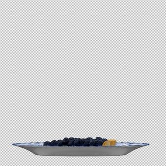 Blaubeerkuchen 3d lokalisiert übertragen