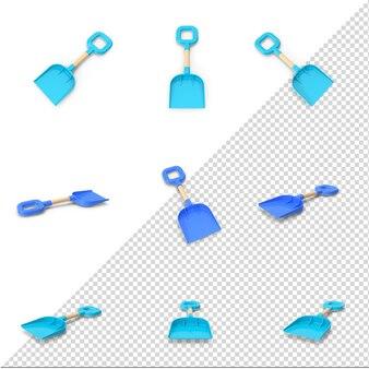 Blaue 3d-sommerschaufel isoliert