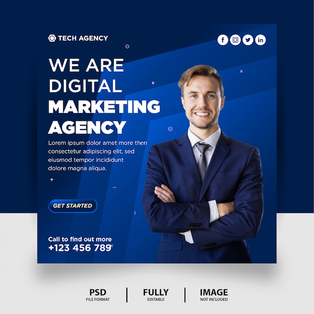 Blaue farbe digitales marketing social media post instagram banner