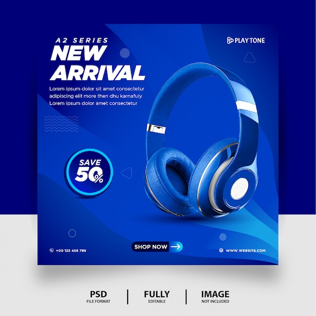 Blaue farbe kopfhörer marke produkt social media instagram banner