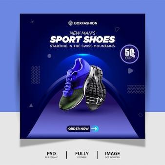 Blaue farbe sportschuhe social media post banner