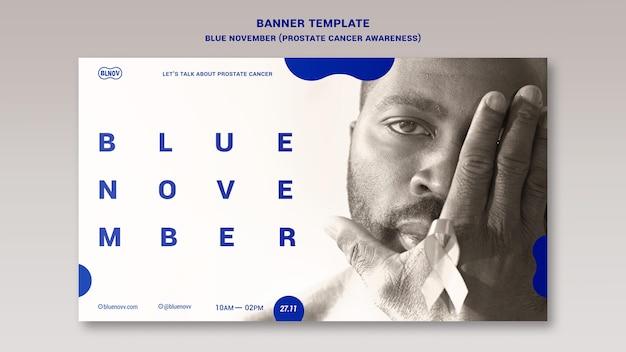 Blaue horizontale bannervorlage für november