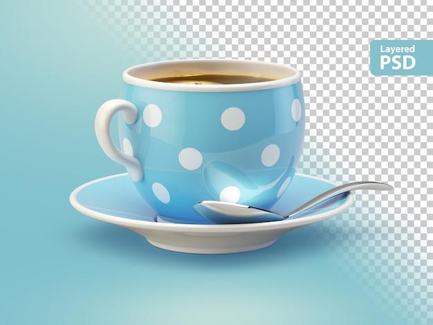 Blaue kaffeetasse mit löffel