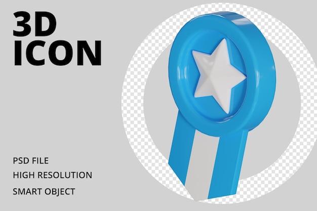 Blaue medaille 3d-symbol