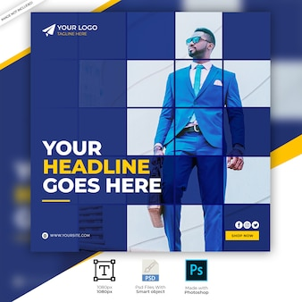 Blaue mode verkauf quadrat social media ad banner vorlage