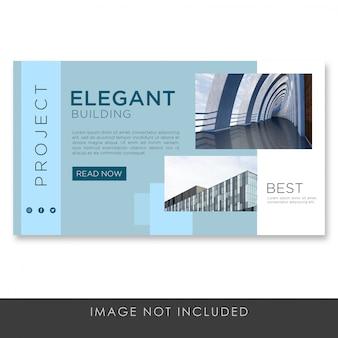 Blaue moderne vorlage der banner-landingpage-architektur