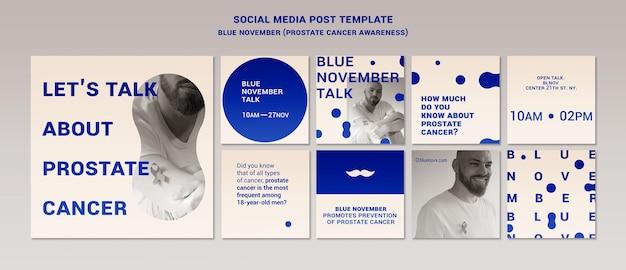 Blaue november-instagram-beiträge eingestellt