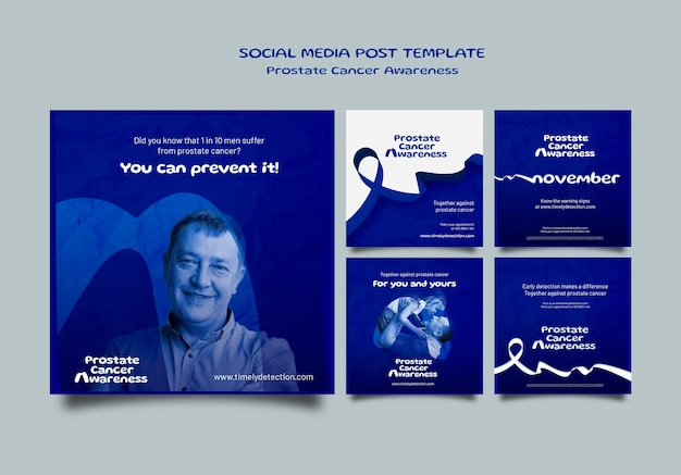 Blaue november-social-media-beiträge eingestellt