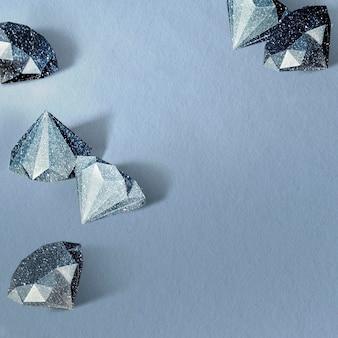 Blaue papierschablone mit rautenmuster