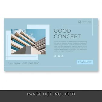 Blaue premium-vorlage der banner-landingpage-architektur