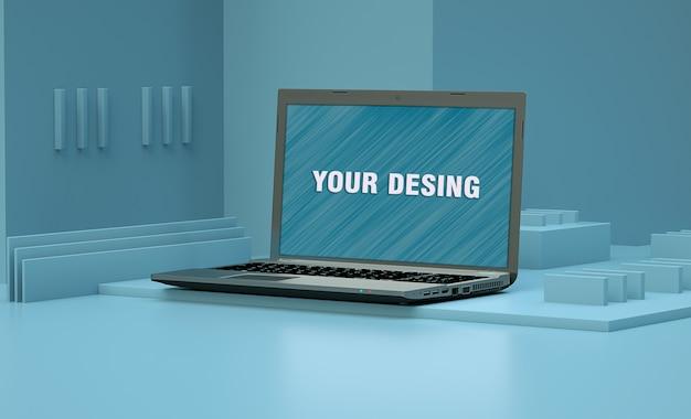 Blaue raummodell-laptops