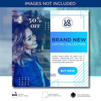 Blaue steigung moderne social media-fahnen-schablone