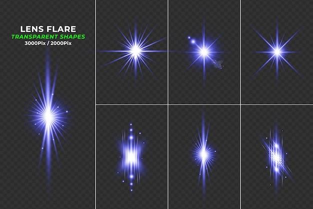 Blaue transparente lens flare lichteffektkollektion