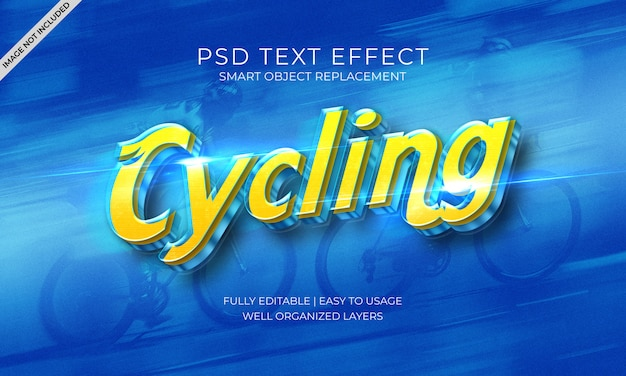 Blaue und gelbe texteffektschablone der fahrradgeschwindigkeit